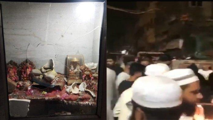 मंदिर में तोड़फोड़