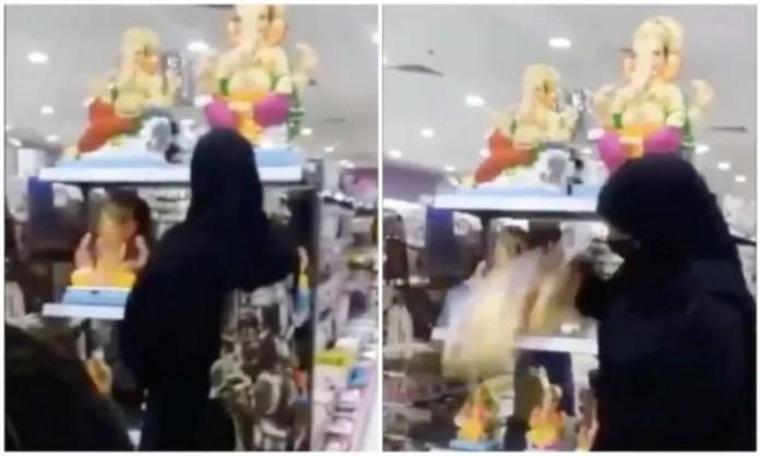 गणेश मूर्ति तोड़ती बुर्का महिला
