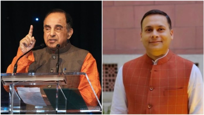 भाजपा नेता सुब्रमणय्म स्वामी और भाजपा आईटी सेल प्रमुख अमित मालवीय