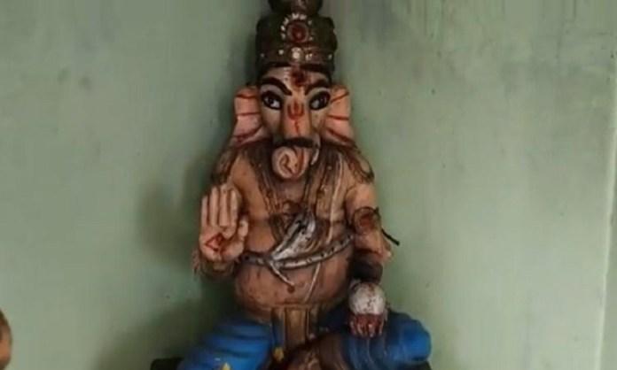 आंध्र प्रदेश में गणेश जी की मूर्ति खंडित