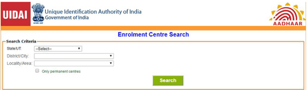 Aadhar enroalment center search