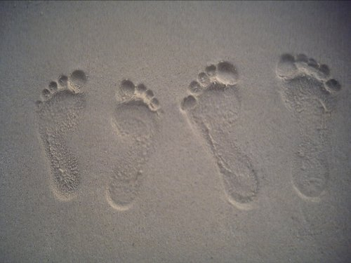 god footprint on sand while walking
