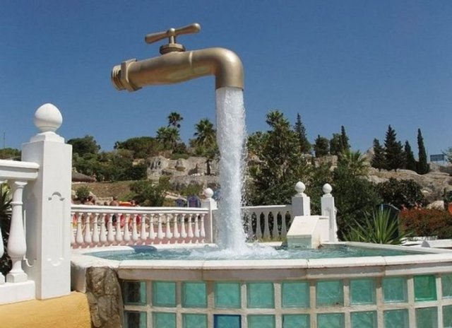 floating faucet sculpture