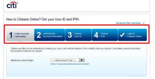 citibank user id aur Ipin