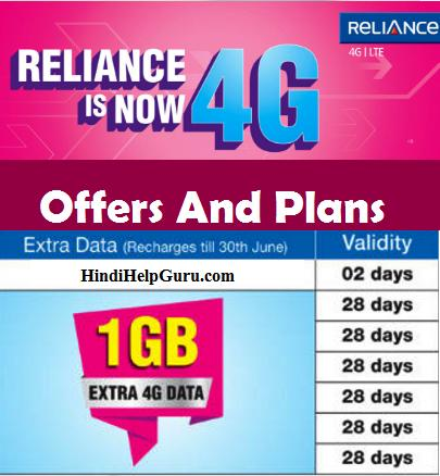 Reliance jio Data Plans And All New Offers