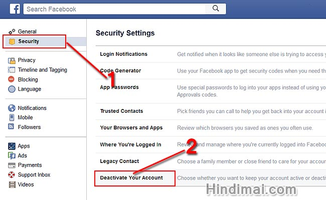How to Delete or Deactivate Facebook Account in Hindi,Facebook account delete kaise karte hai , Deactivating or Delete Facebook Account  how to delete or deactivate facebook account in hindi How to Delete or Deactivate Facebook Account in Hindi Facebook account delete or deactivate kaise karte hai Step002
