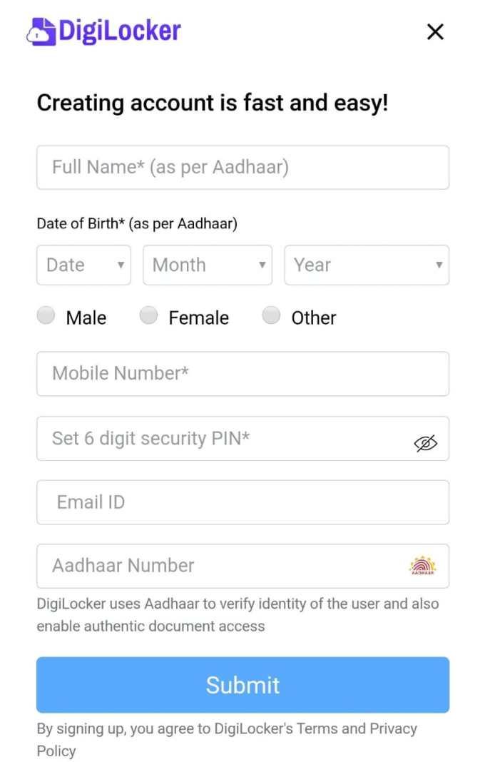अब आपको आपकी कुछ डिटेल्स भरनी होगी | आधार कार्ड मे जो नाम हे वो और आधार कार्ड से लिंक मोबाइल नंबर और आधार कार्ड नंबर साथ हे आपको 6 अंक का पासवर्ड भी डालना होगा |