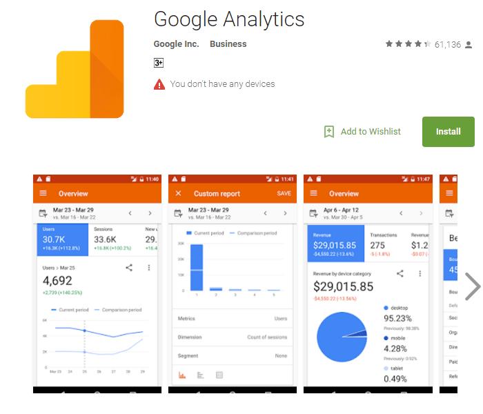 google-analytics application