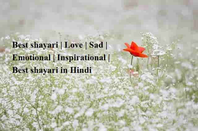 Best shayari | Love | Sad | Emotional | Inspirational | Best shayari in Hindi