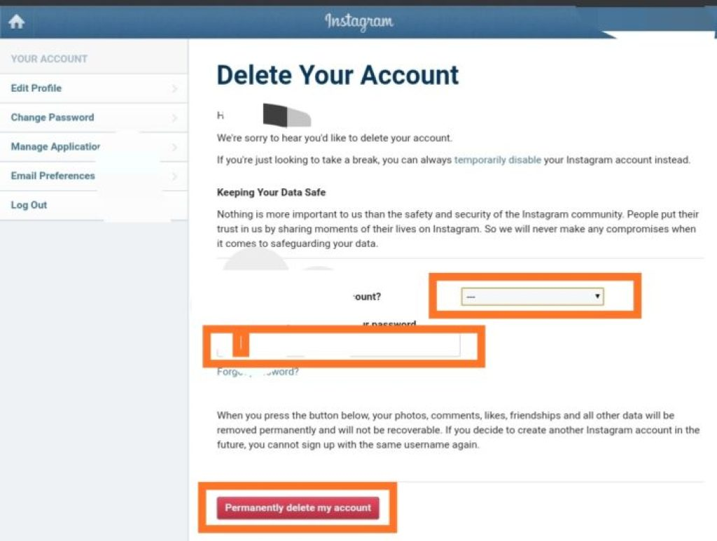 Instagram Account Delete how to