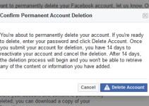 Facebook Mobile App से Account (FB ID) Delete कैसे करे