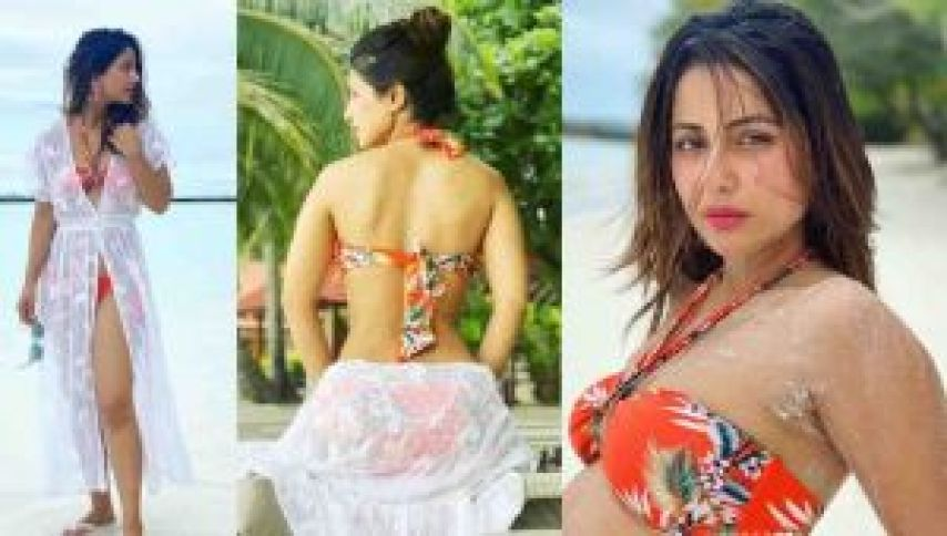 हिना खान ने ऑरेंज बिकिनी पहन लगाई आग, सोशल मीडिया पर तस्वीरे वायरल
