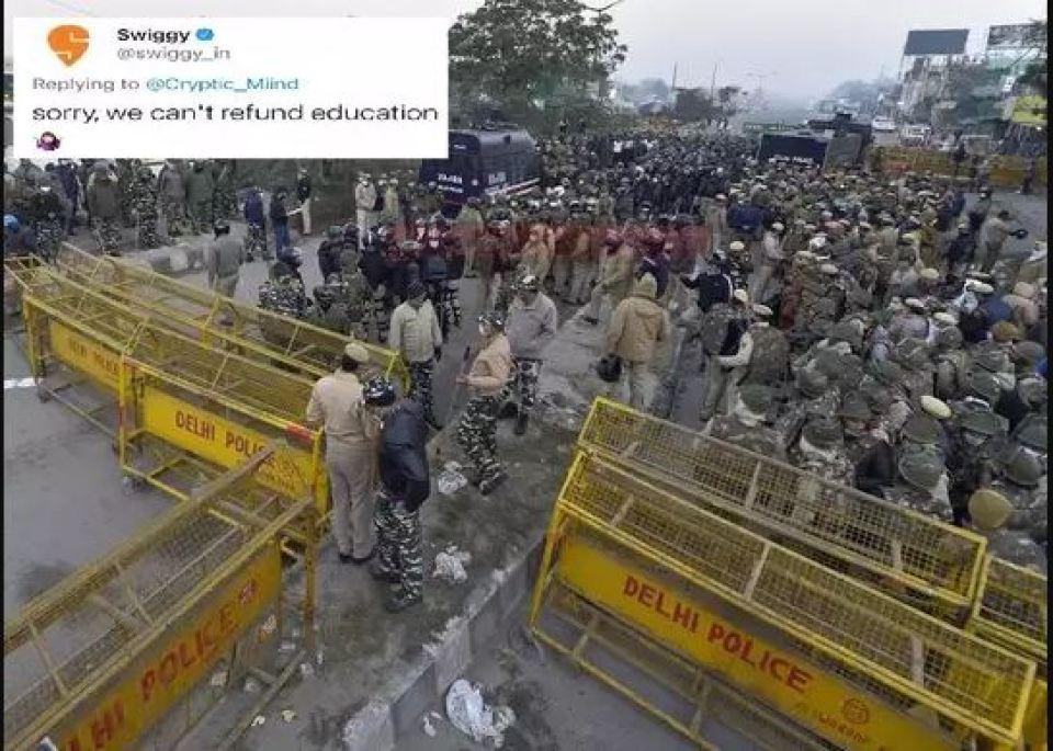 किसान आंदोलन के बीच अब वायरल हुआ स्विगी का मजेदार ट्वीट, आप भी देखिए