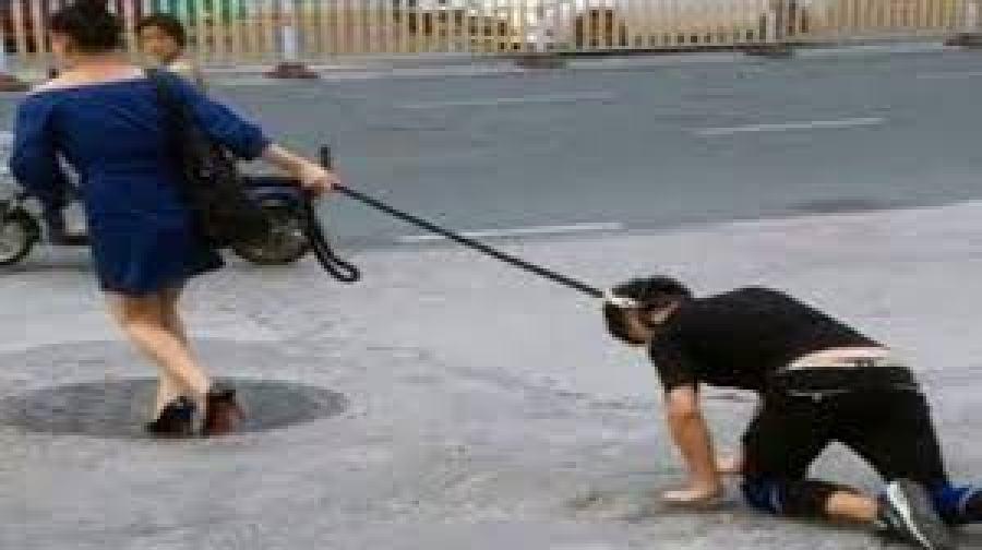 पति को कुत्ता बनाकर सड़क पर घुमा रही थी पत्नी लगा 75 हजार का जुर्माना