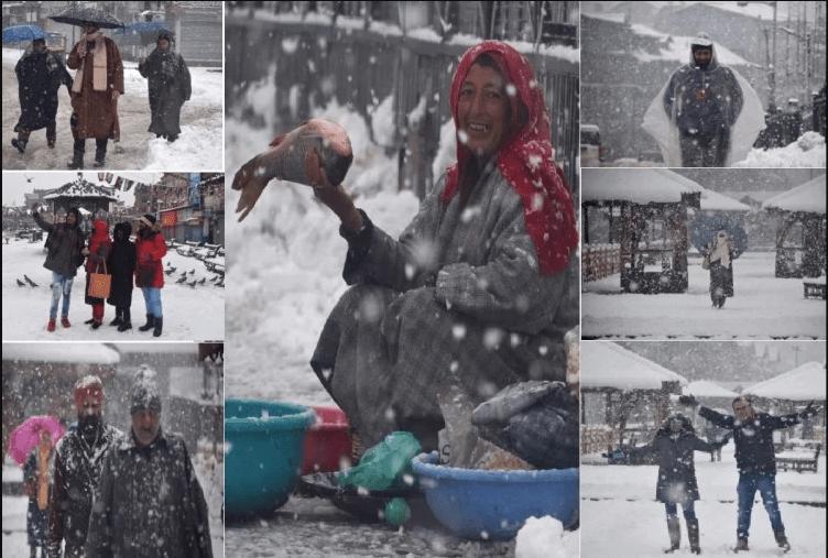कश्मीर की घाटियों में लगातार बर्फबारी, टूरिस्ट ले रहे स्नो फॉलिंग का आनंद, देखिए तस्वीरें