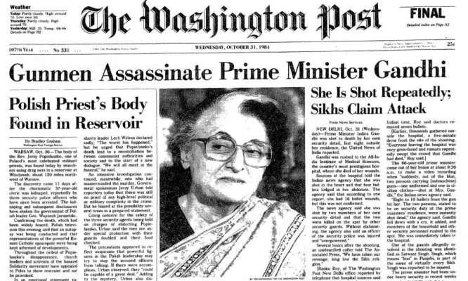 Indira Gandhi Assassination: Washington Post