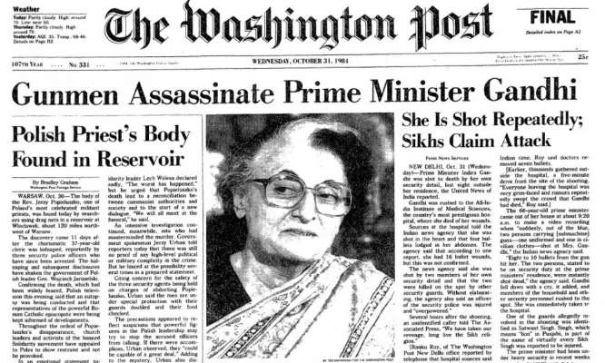 Indira Gandhi Assassination: Washington Post