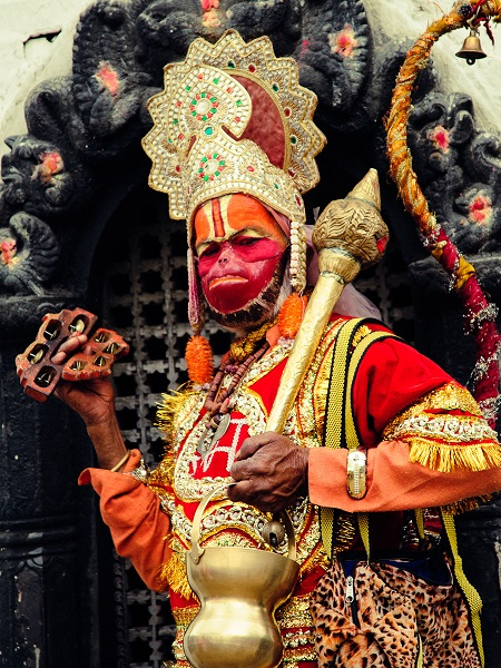 Hanuman Devotee at Pashupatinath Temple