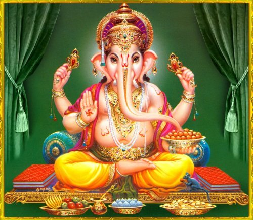 2 Ganesha Green background