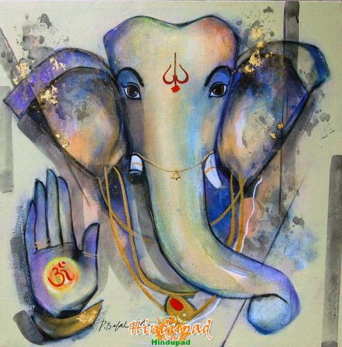 Ganesha painting by Bala Bhakta Raju