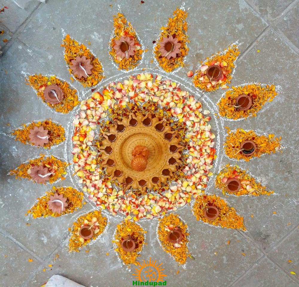 Diwali Rangoli Design I - Rounded for Front Door with Lakshmi in Center - Top View
