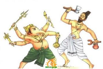Ganesha Fighting Parashurama