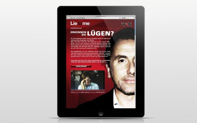 iPad mitLie to Me Landingpage