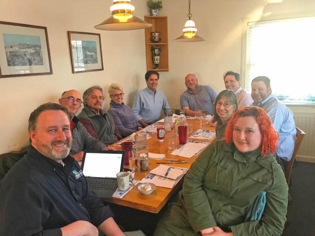 From left to right: Kris Merchant, Mike Dee, Walter Hausermann, Kristen Wahner, Kevin Lewis, Stuart Deliduka, David Palmer, Will Eggleston, Roberta Soll and Laura Gurdak.