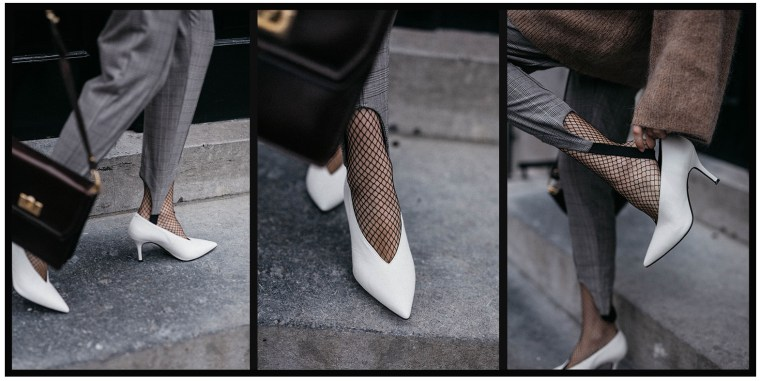 V-neck-white-pumps-celine-style-fishnet-tights-stirrup-trousers-trend-2017-outfit-inspiration-fashion-blogger-chic-style