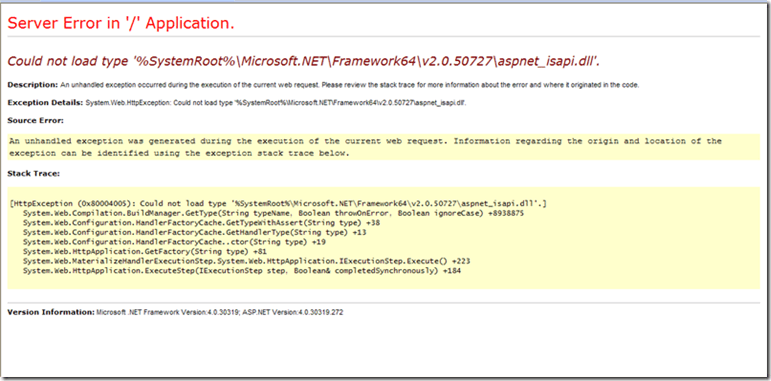 Could not load type '%SystemRoot%\Microsoft.NET\Framework64\v2.0.50727\aspnet_isapi.dll error when trying to access a WCF Service