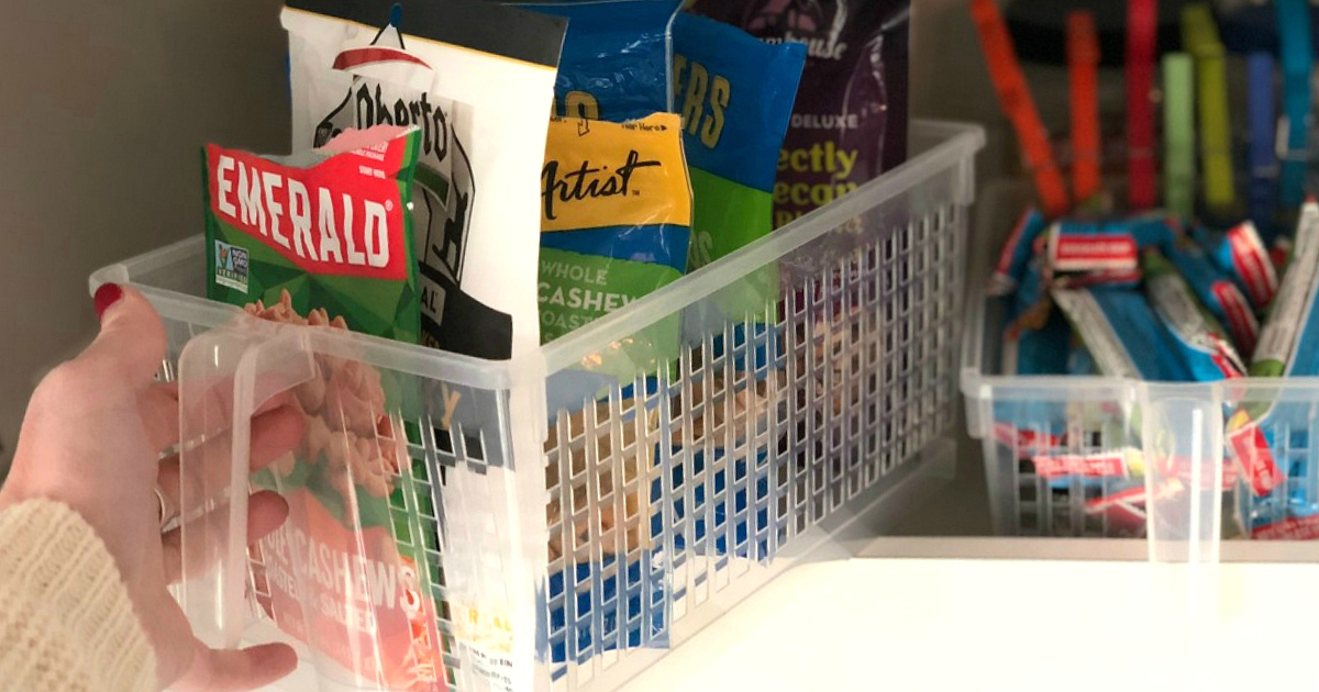 Pantry organizer at home filled with snacks