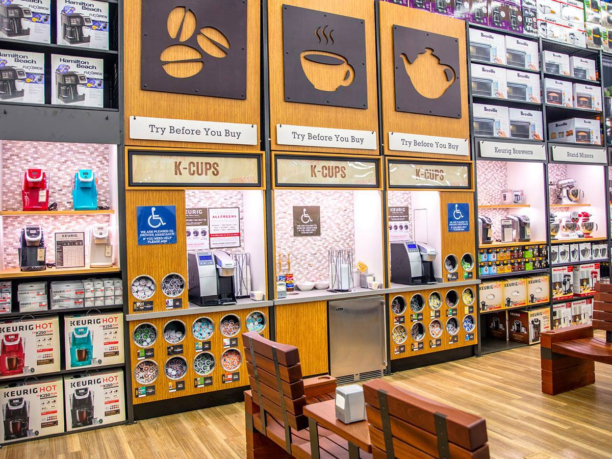 bed bath beyond try before you buy section of the store with kcups