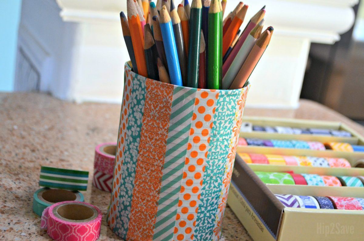 washi tape on a tin can holding pencils
