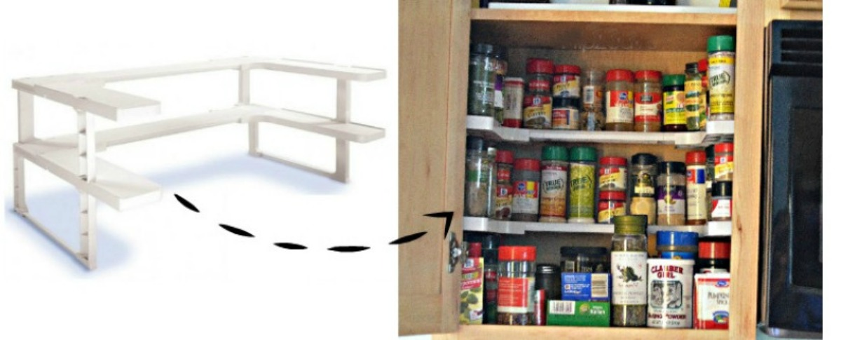 how the Spicy Shelf kitchen cabinet organizer looks both in and out of the spice cabinet