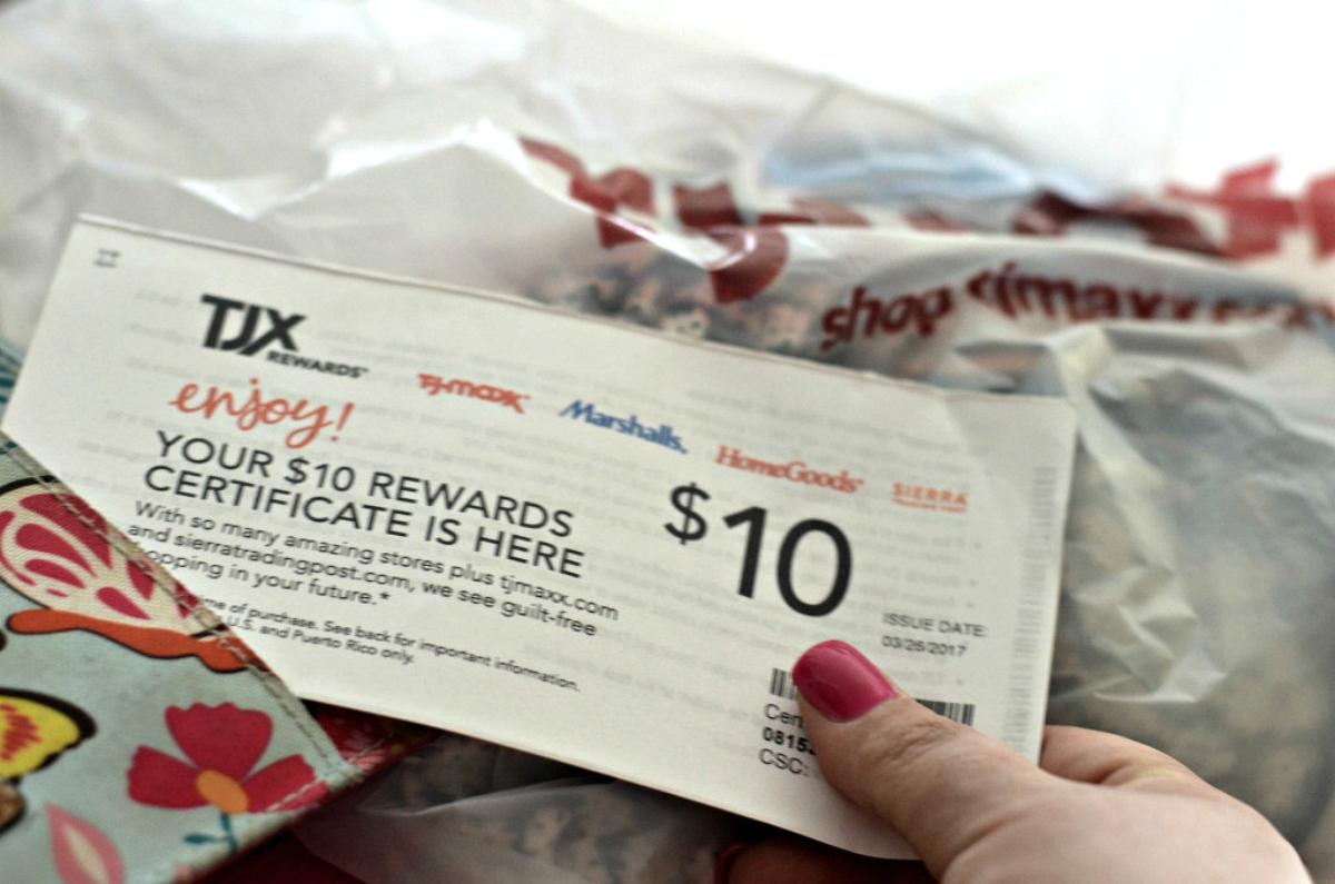 tj maxx rewards certificate for $10
