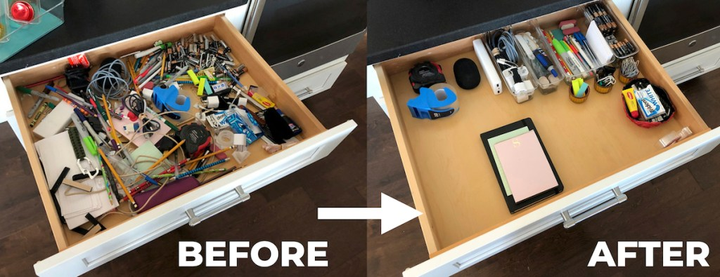 before and after comparison of junk drawer