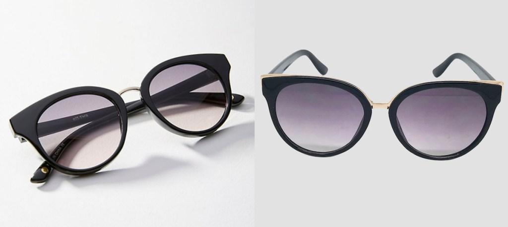 anthropologie target black cateye sunglasses purple lens