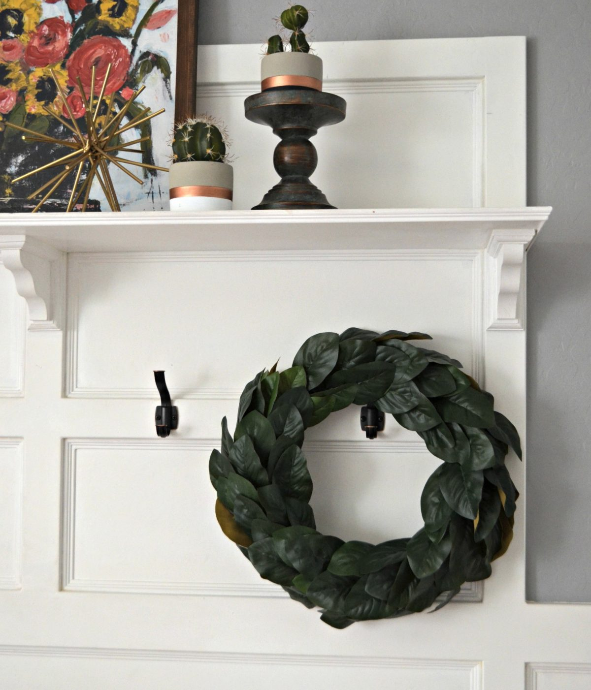 Magnolia wreath hanging on the wall