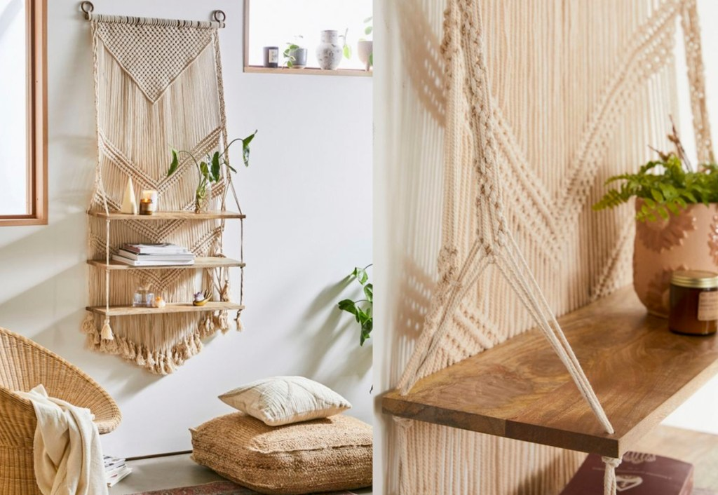 large macrame shelves on wall with accessories and floor pillows