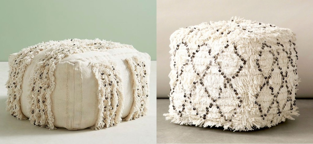 anthropologie and walmart copycat side by side moroccan wedding poufs ivory sequins