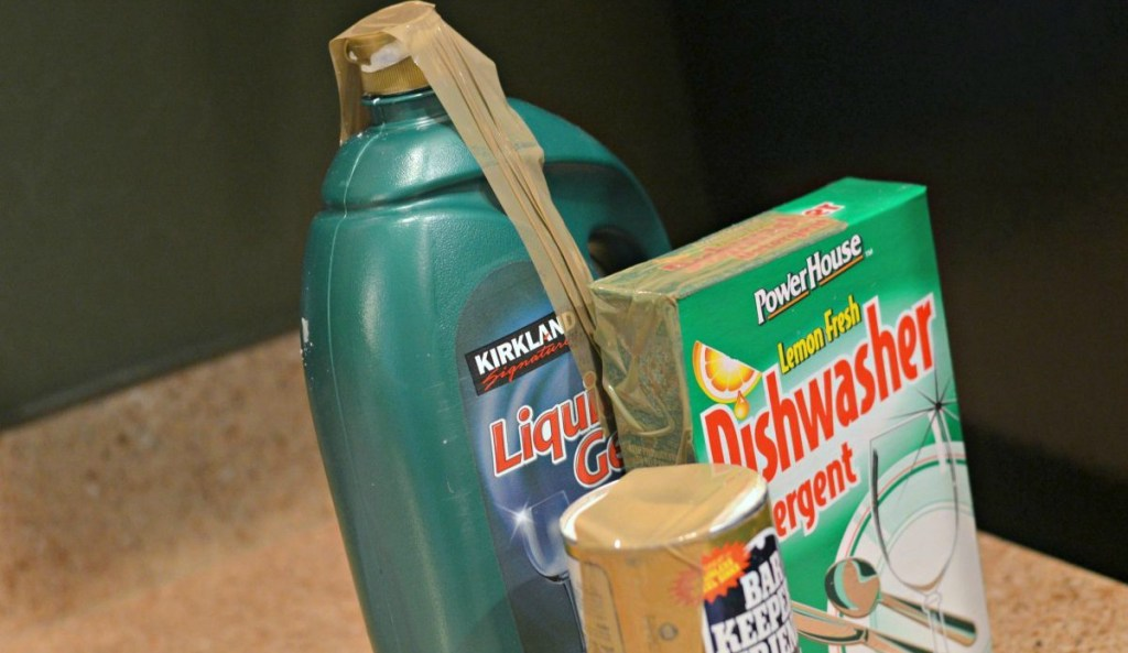 tape lids shut of all household cleaners before moving