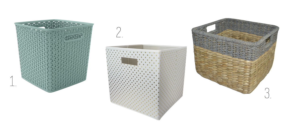 small target bins baskets: blue white polka dots and two tone basketweave