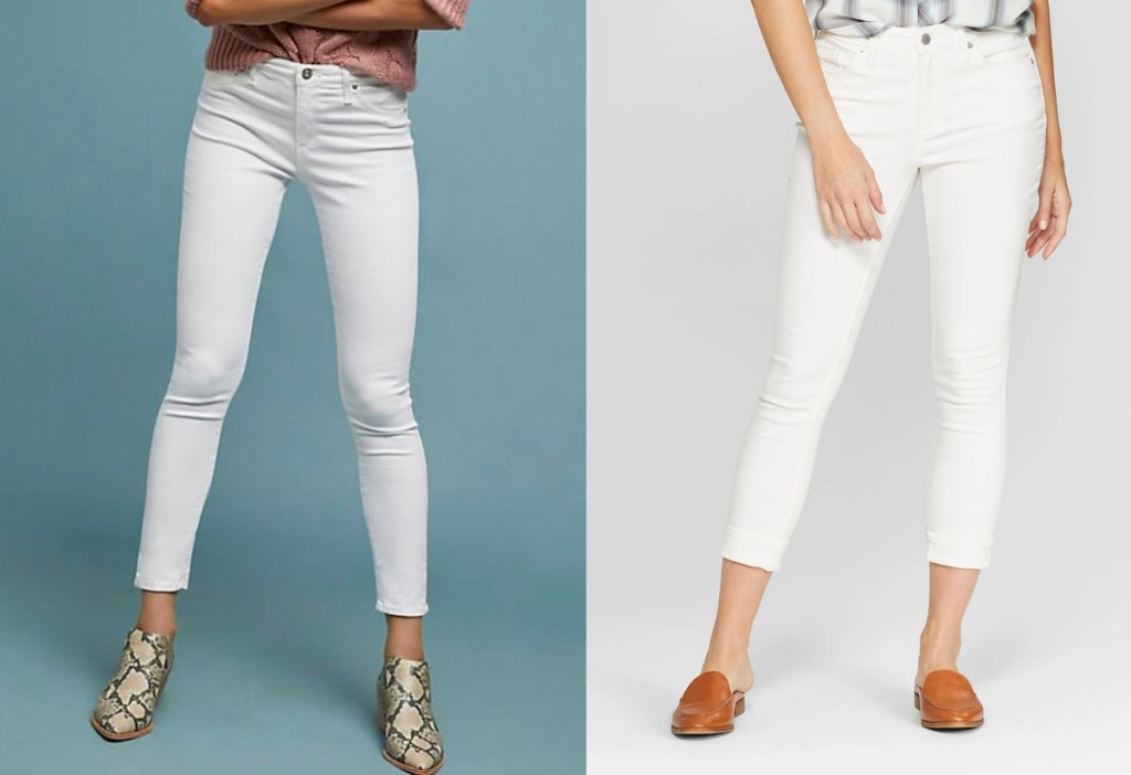 anthropologie target universal threads white high rise skinny jeans demin crop pants