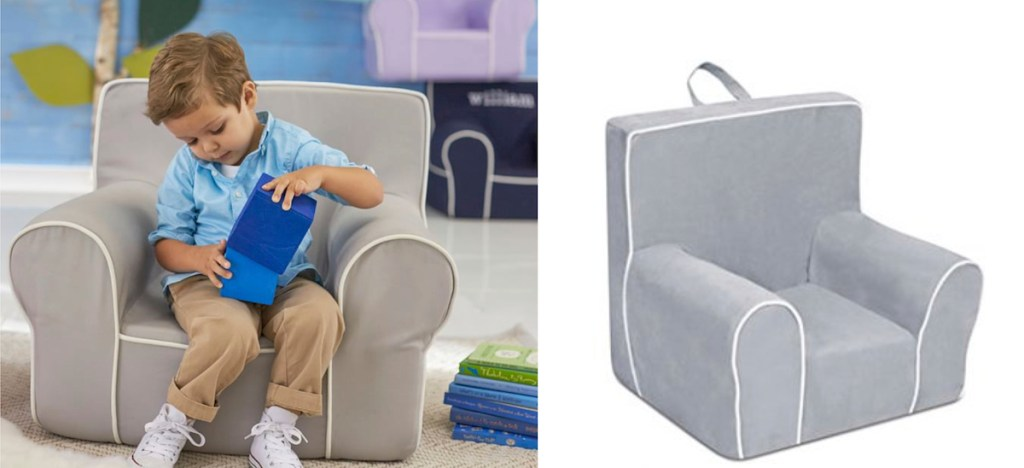 boy sitting in a gray chair next to stock photo of chair with white background