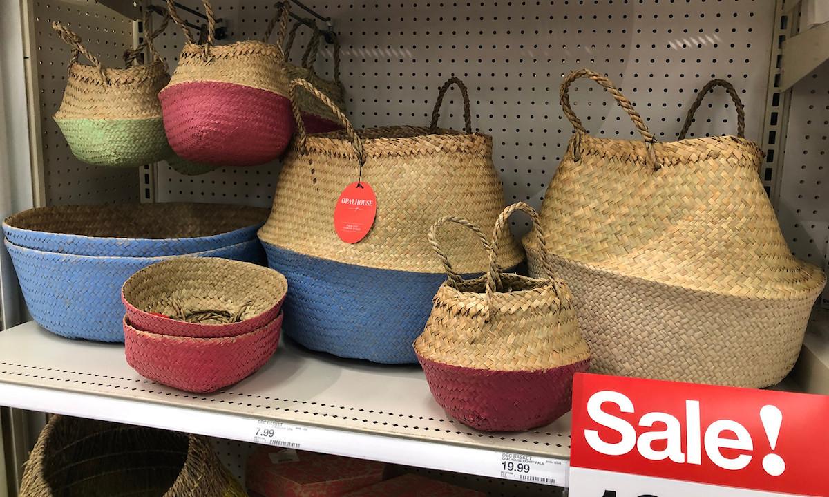 belly baskets on a shelf