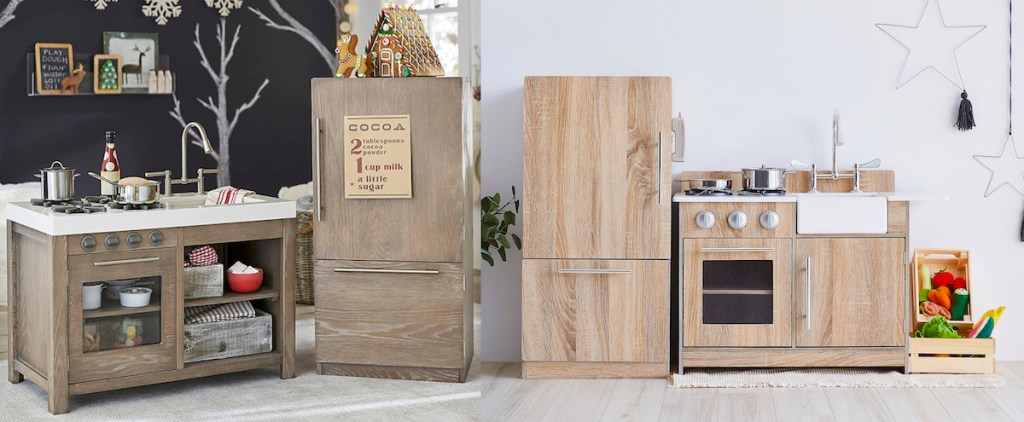 two pictures of brown wood kids play kitchens in playrooms