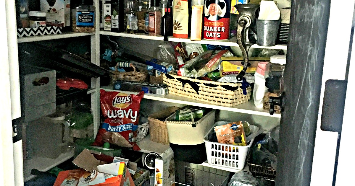 messy pantry before organizing