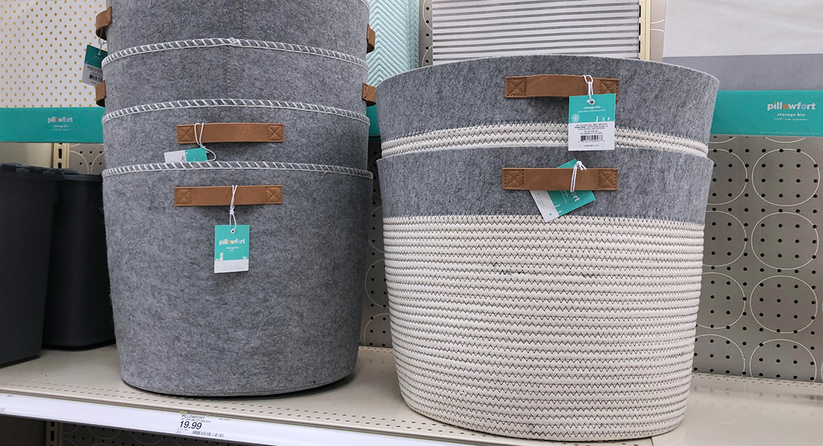 grown up Pillowfort items — felt and fabric storage baskets