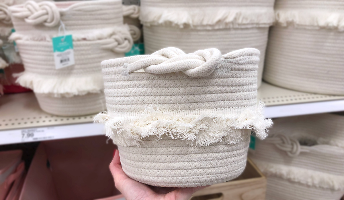 grown up Pillowfort items — white rope fringed storage basket