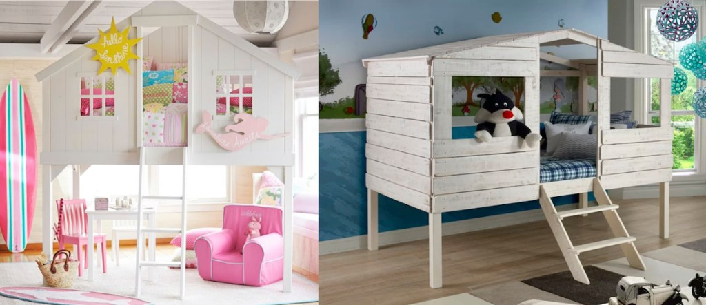 white wood treehouse style loft bed with pink decor and blue room with stuffed animals on bed